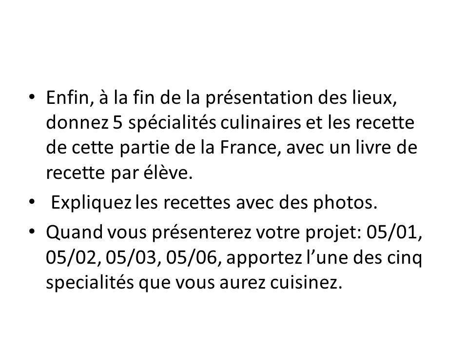 Enfin, à la fin de la présentation des lieux, donnez 5 spécialités culinaires et les recette de cette partie de la France, avec un livre de recette par élève.
