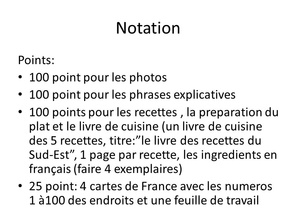 Notation Points: 100 point pour les photos