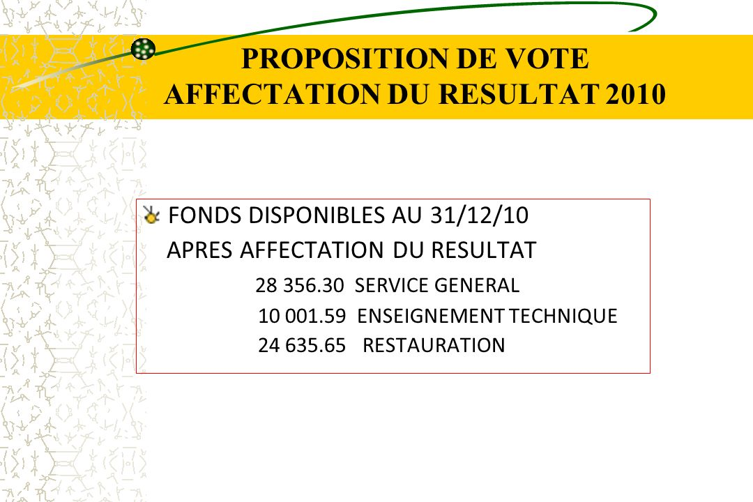 PROPOSITION DE VOTE AFFECTATION DU RESULTAT 2010