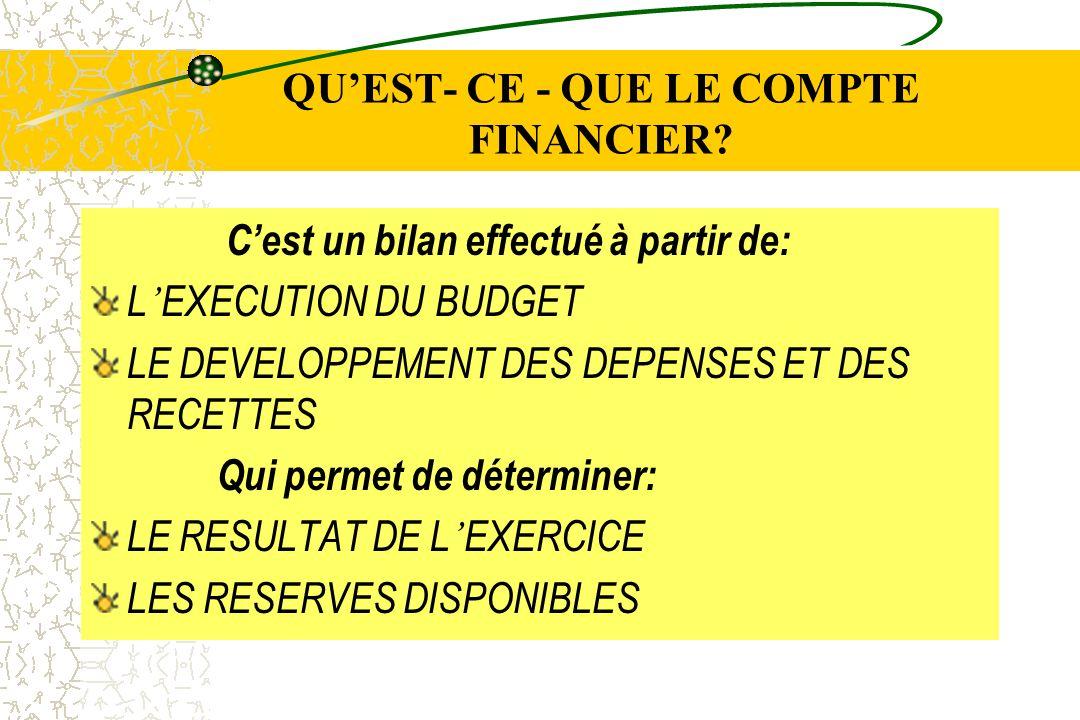 QU'EST- CE - QUE LE COMPTE FINANCIER