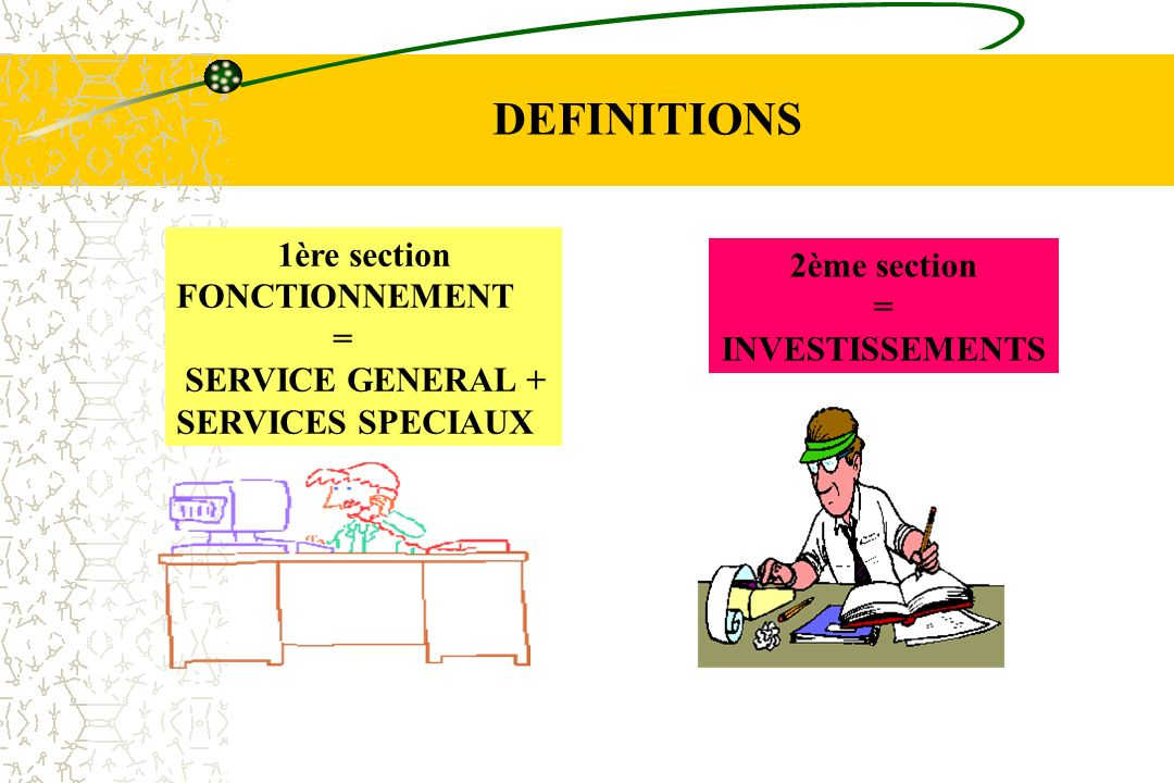 DEFINITIONS 1ère section 2ème section FONCTIONNEMENT = =