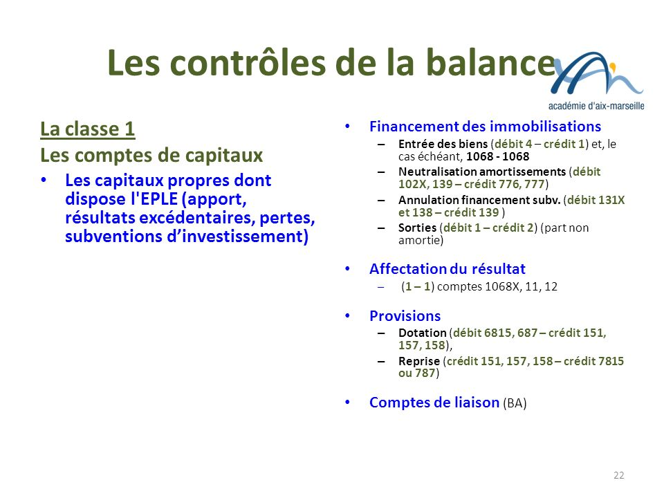 Les contrôles de la balance