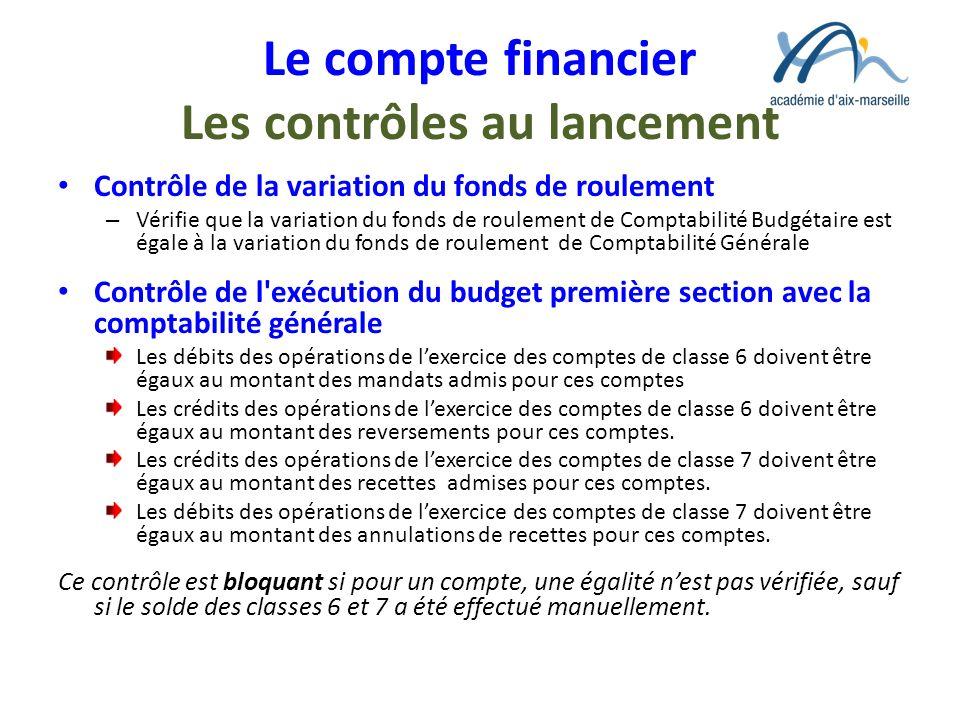 Le compte financier Les contrôles au lancement