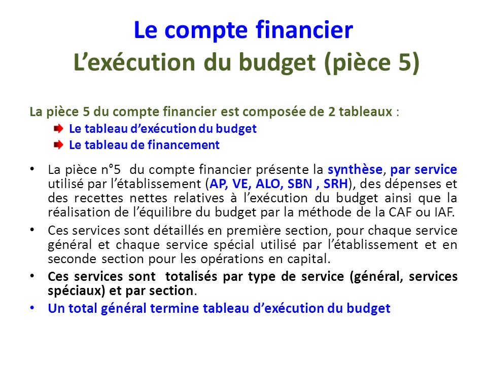 Le compte financier L'exécution du budget (pièce 5)