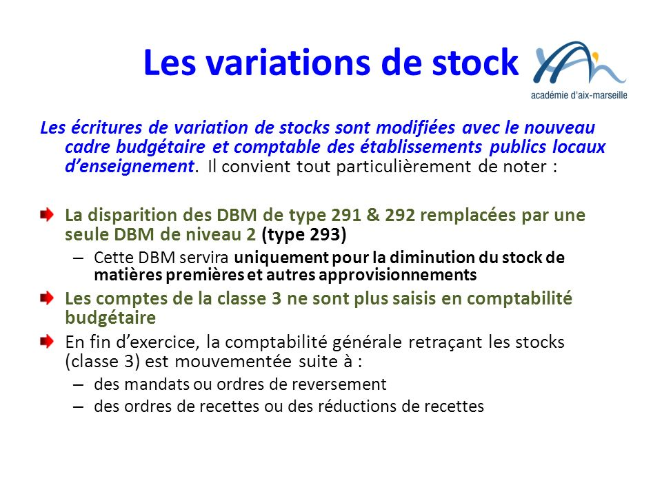 Les variations de stock