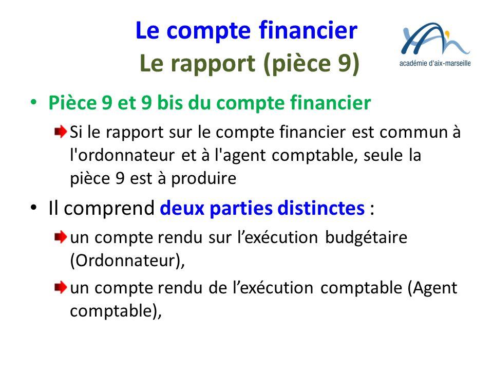 Le compte financier Le rapport (pièce 9)