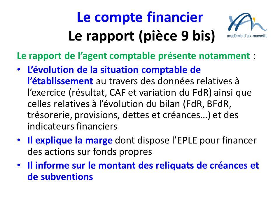 Le compte financier Le rapport (pièce 9 bis)