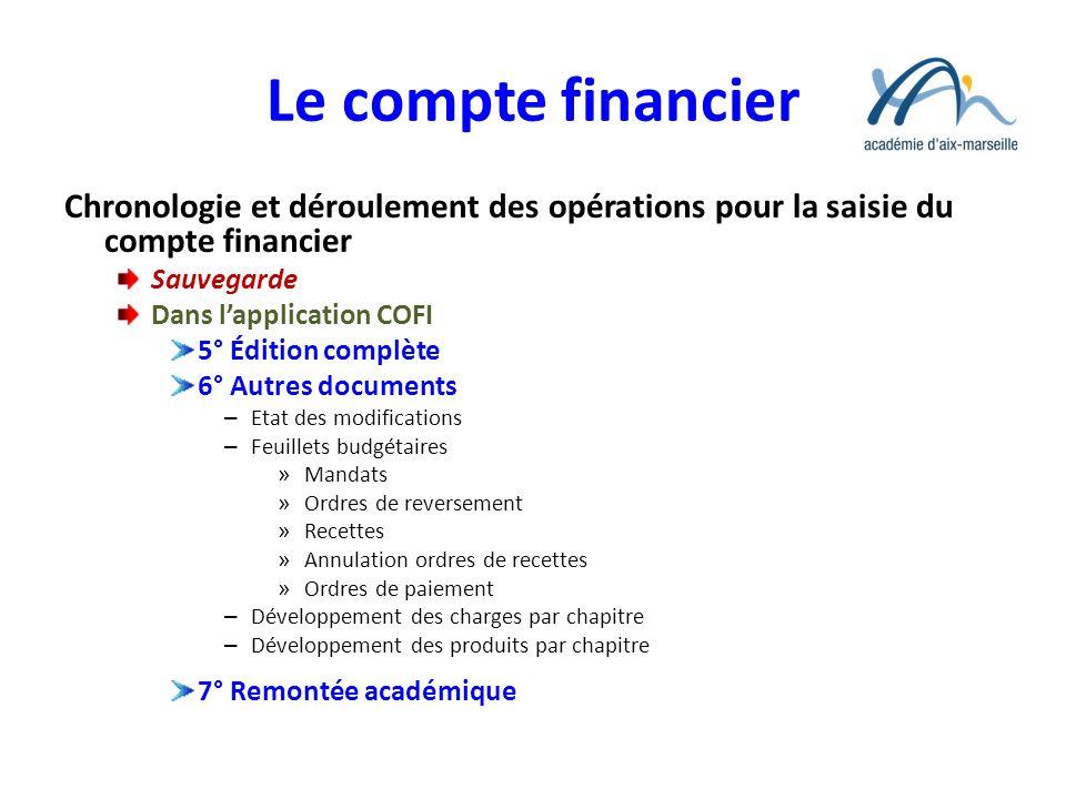 Le compte financier Chronologie et déroulement des opérations pour la saisie du compte financier. Sauvegarde.