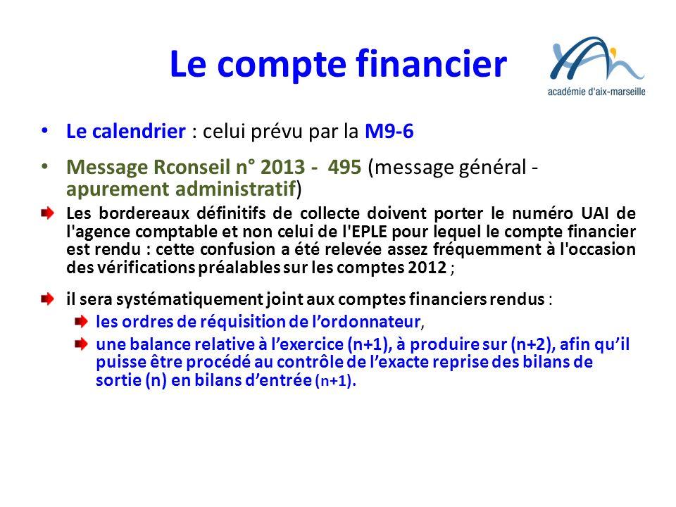 Le compte financier Le calendrier : celui prévu par la M9-6