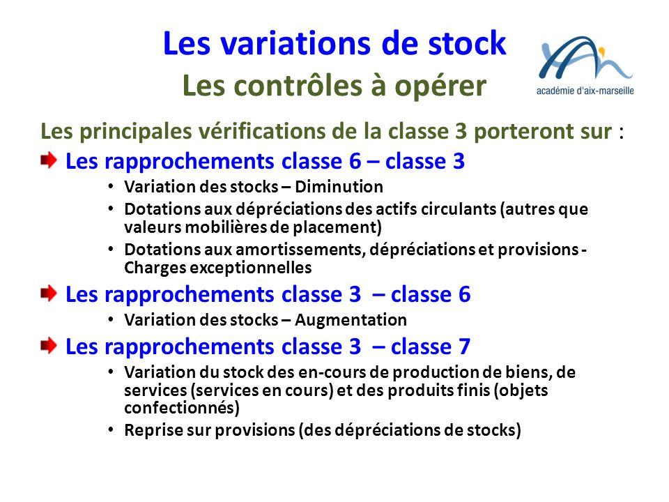 Les variations de stock Les contrôles à opérer