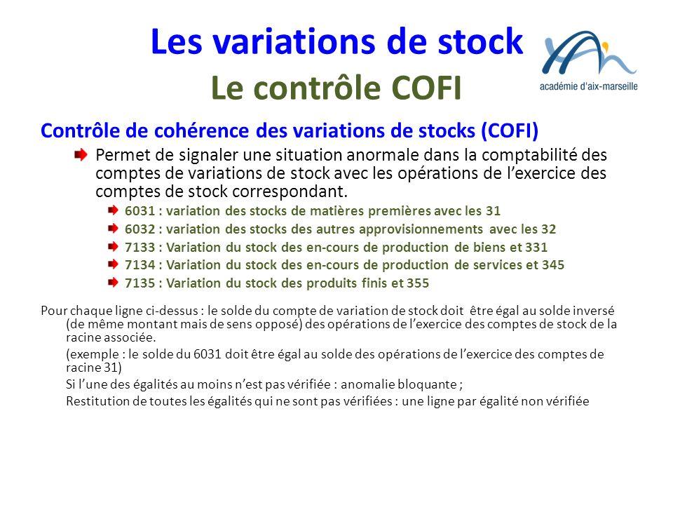 Les variations de stock Le contrôle COFI