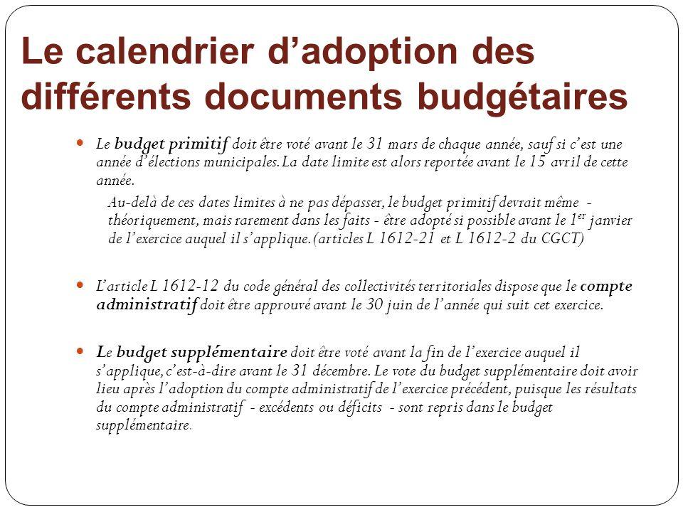 Le calendrier d'adoption des différents documents budgétaires