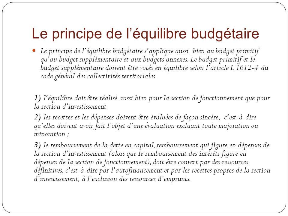 Le principe de l'équilibre budgétaire