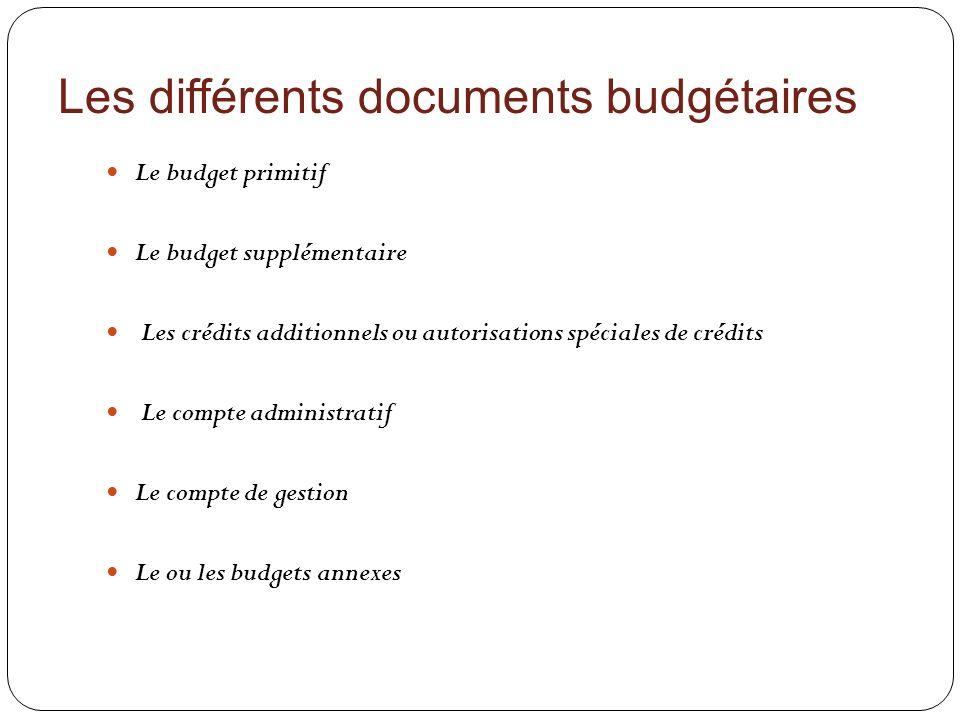 Les différents documents budgétaires