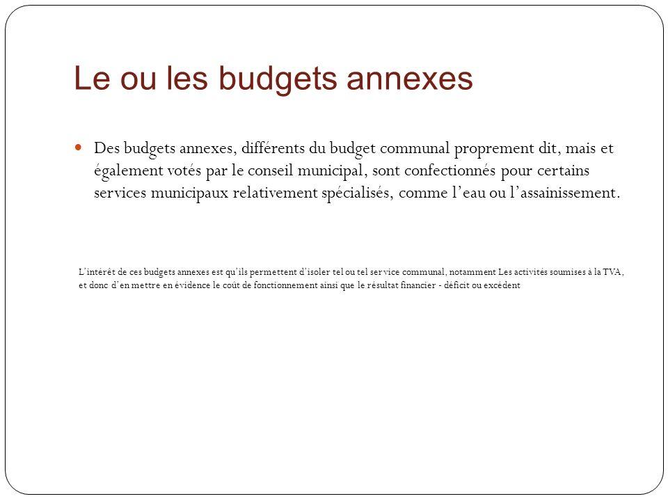 Le ou les budgets annexes