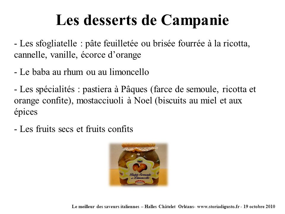 Les desserts de Campanie