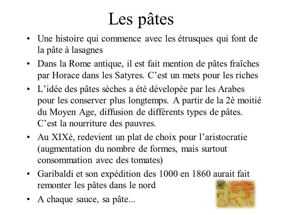 Les pâtes Une histoire qui commence avec les étrusques qui font de la pâte à lasagnes.