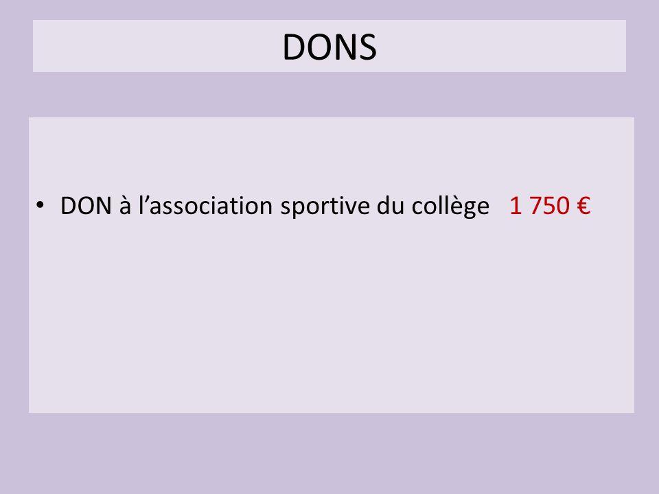 DONS DON à l'association sportive du collège 1 750 €