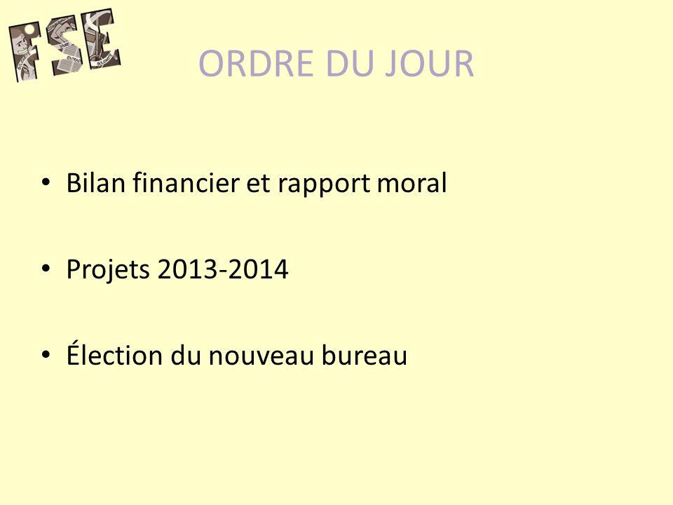 ORDRE DU JOUR Bilan financier et rapport moral Projets 2013-2014