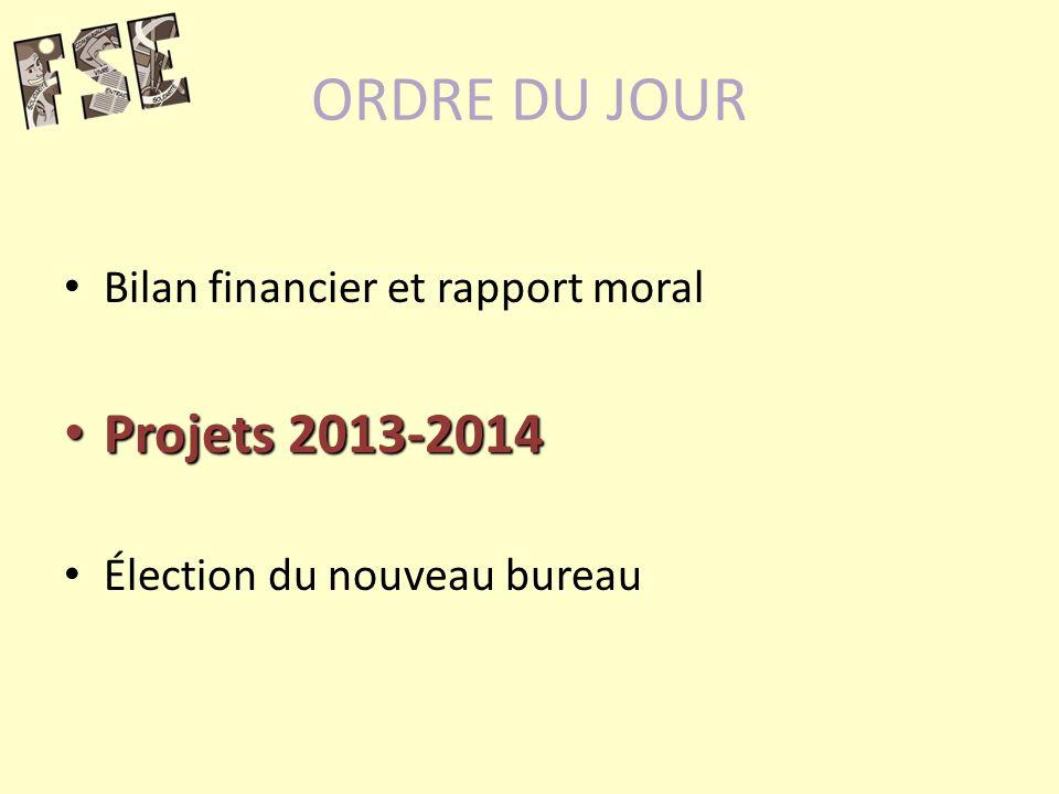 ORDRE DU JOUR Projets 2013-2014 Bilan financier et rapport moral