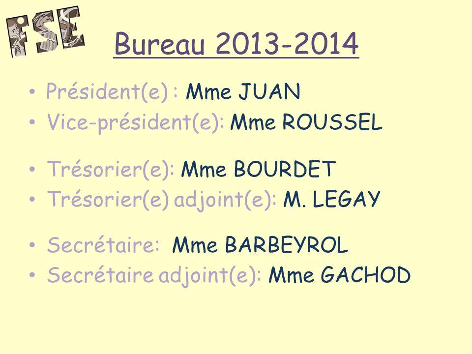 Bureau 2013-2014 Président(e) : Mme JUAN