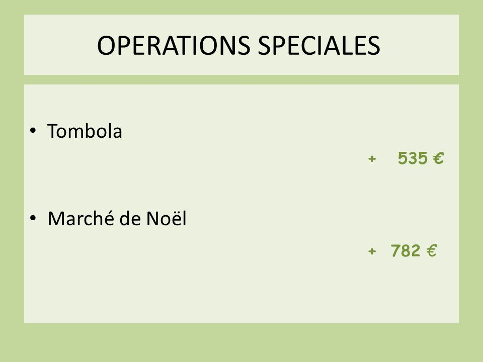 OPERATIONS SPECIALES Tombola + 535 € Marché de Noël + 782 €