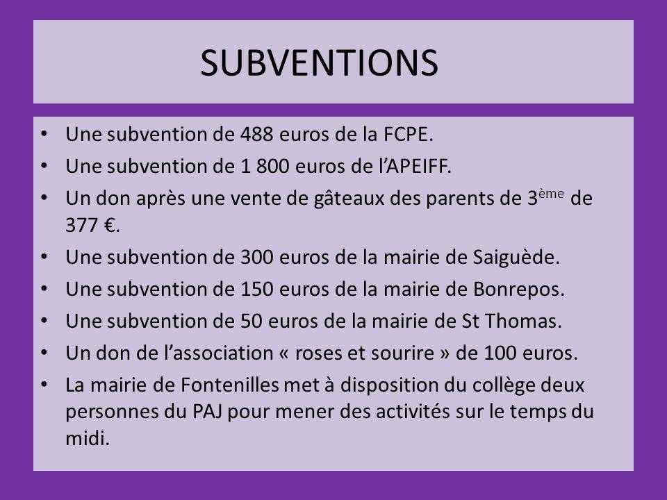 SUBVENTIONS Une subvention de 488 euros de la FCPE.