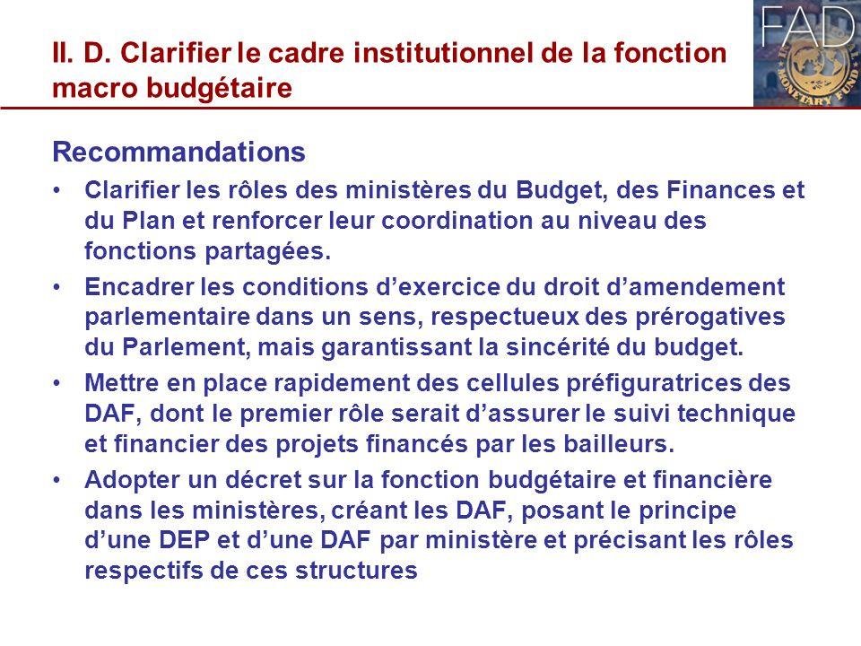 II. D. Clarifier le cadre institutionnel de la fonction macro budgétaire