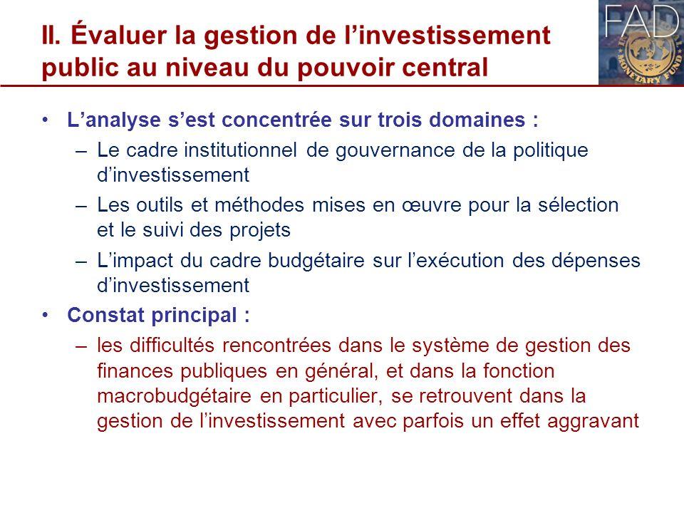 II. Évaluer la gestion de l'investissement public au niveau du pouvoir central