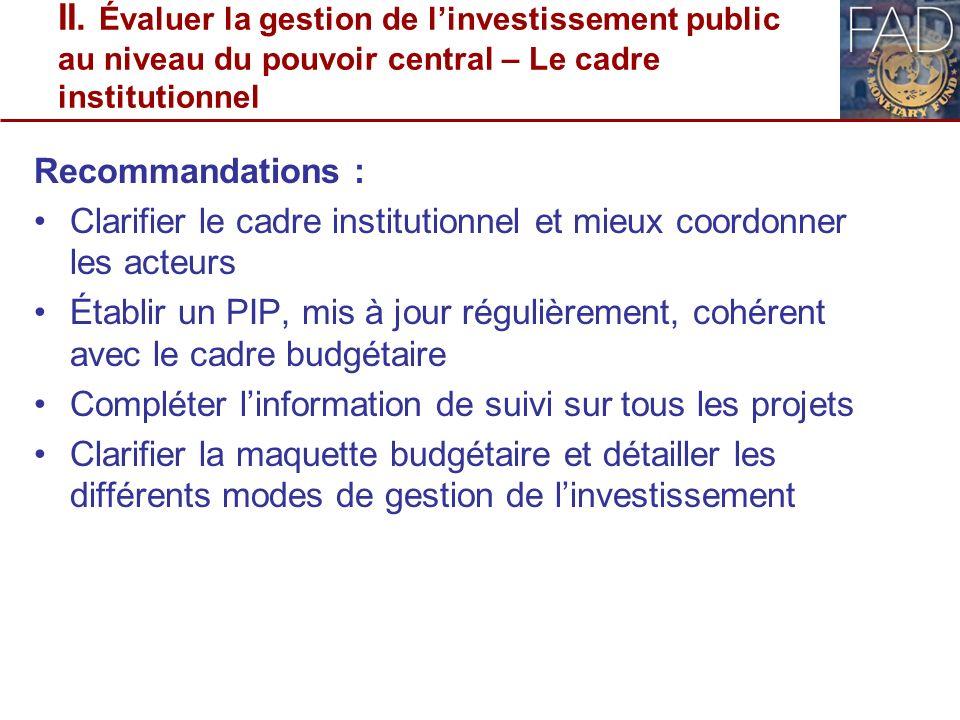 II. Évaluer la gestion de l'investissement public au niveau du pouvoir central – Le cadre institutionnel