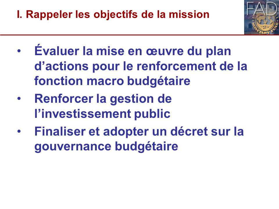 I. Rappeler les objectifs de la mission