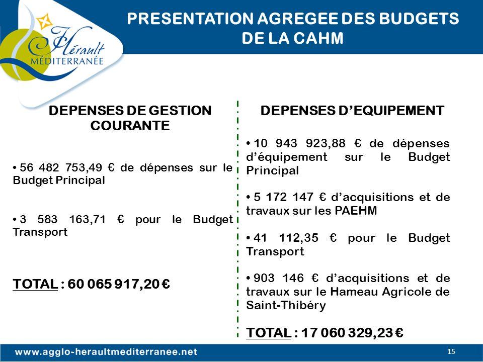 PRESENTATION AGREGEE DES BUDGETS DE LA CAHM DEPENSES D'EQUIPEMENT