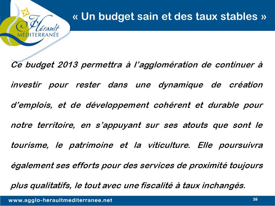 « Un budget sain et des taux stables »