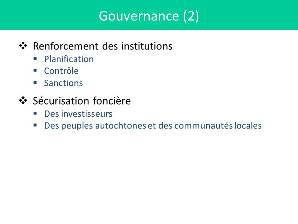 Gouvernance (2) Renforcement des institutions Sécurisation foncière