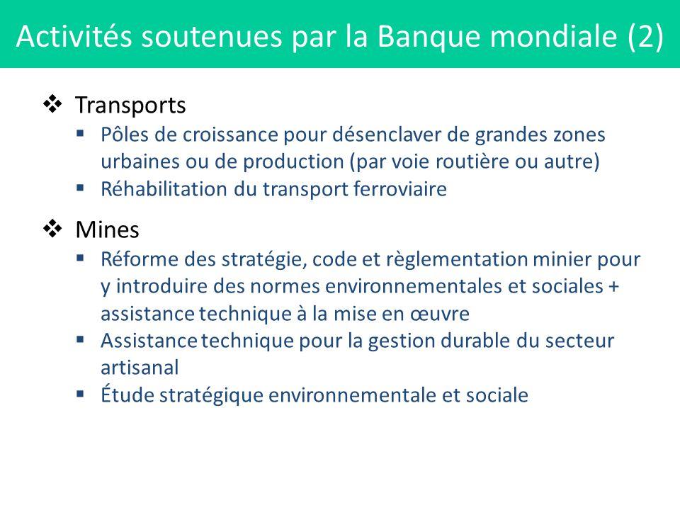 Activités soutenues par la Banque mondiale (2)