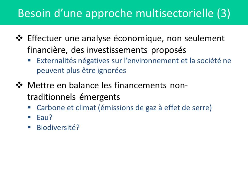Besoin d'une approche multisectorielle (3)