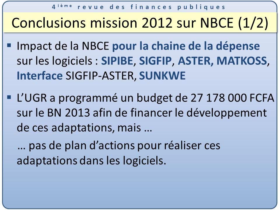 Conclusions mission 2012 sur NBCE (1/2)
