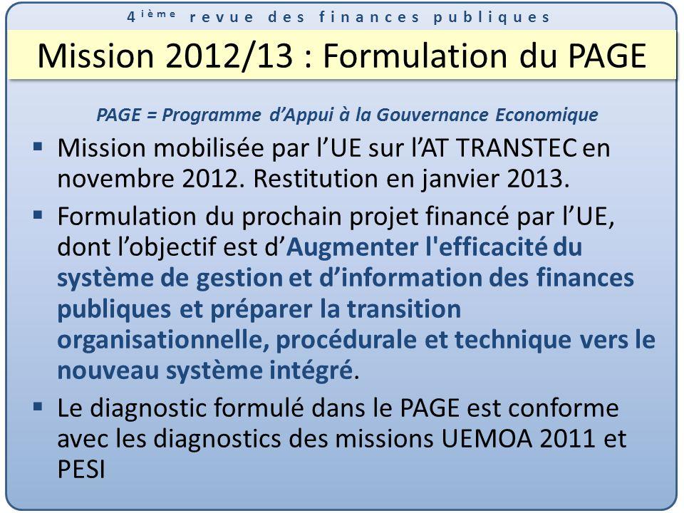 Mission 2012/13 : Formulation du PAGE