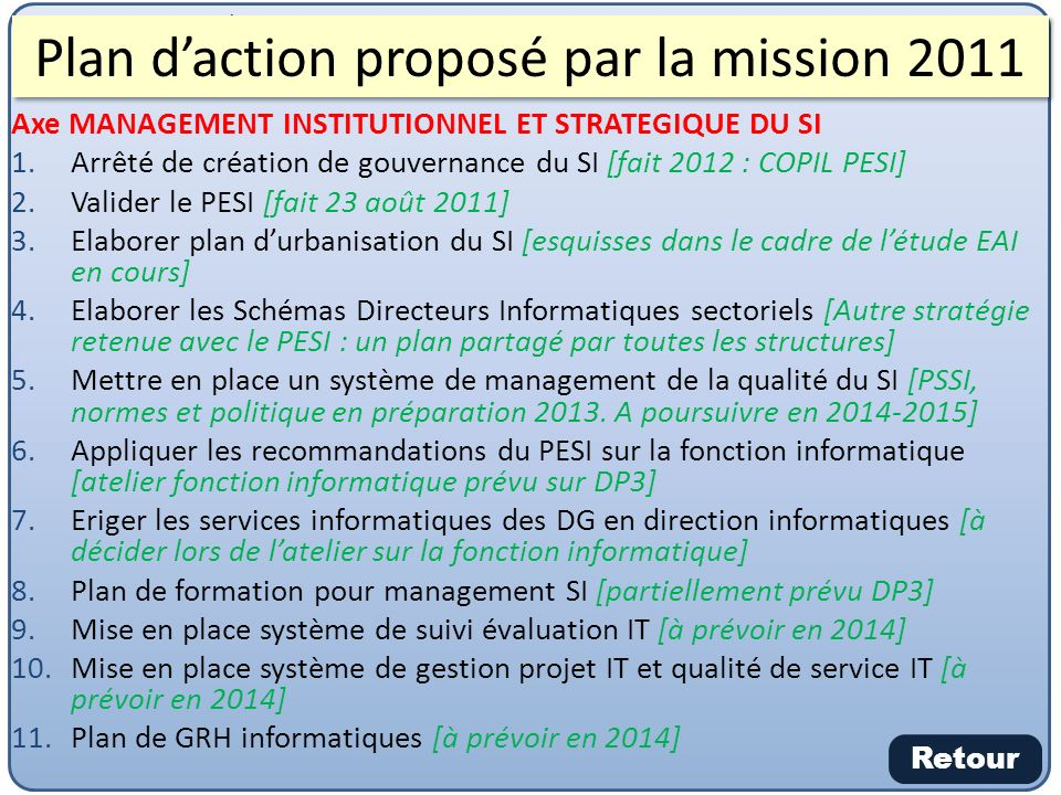 Plan d'action proposé par la mission 2011