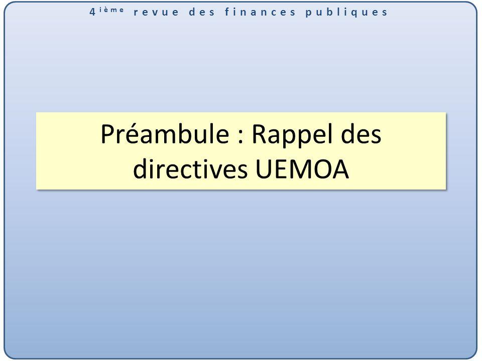 Préambule : Rappel des directives UEMOA