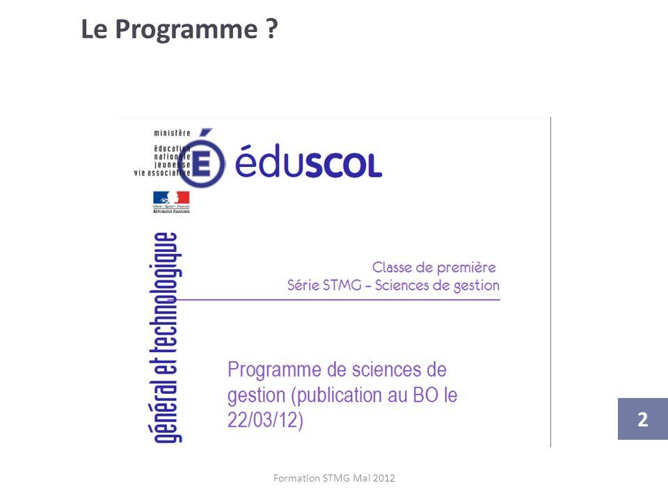Le Programme Attention à bien utiliser la bonne version du programme (le projet de programme mis en consultation à été modifié)