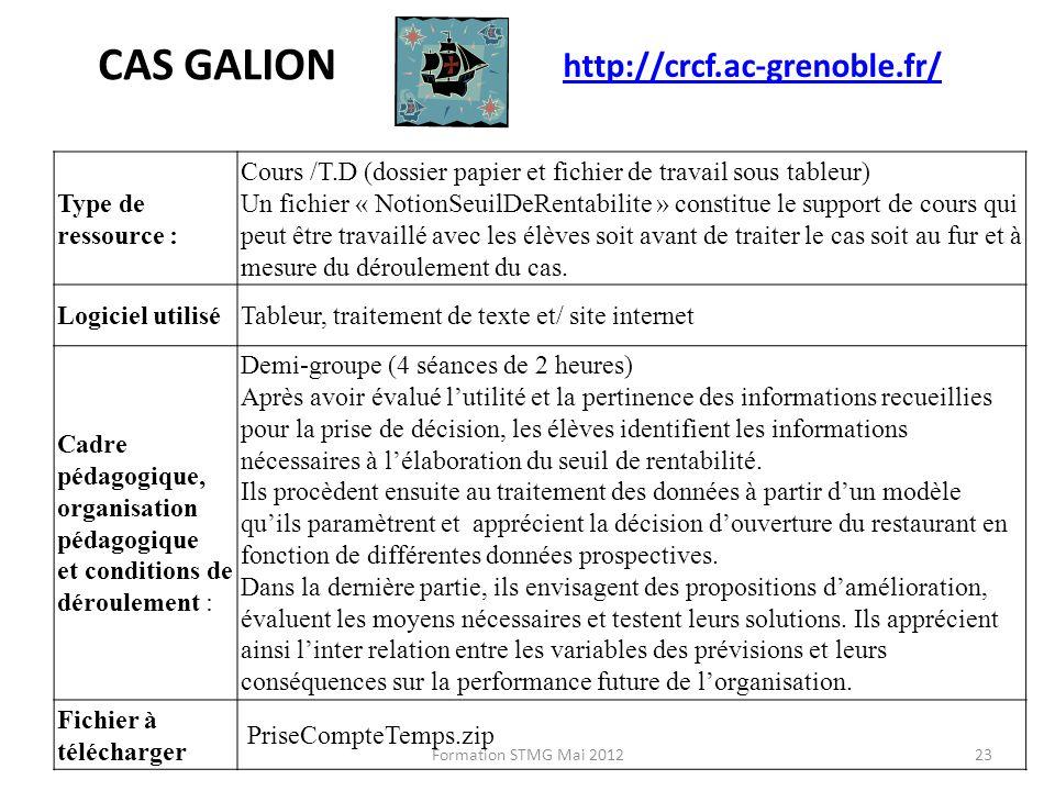 CAS GALION http://crcf.ac-grenoble.fr/ Type de ressource :