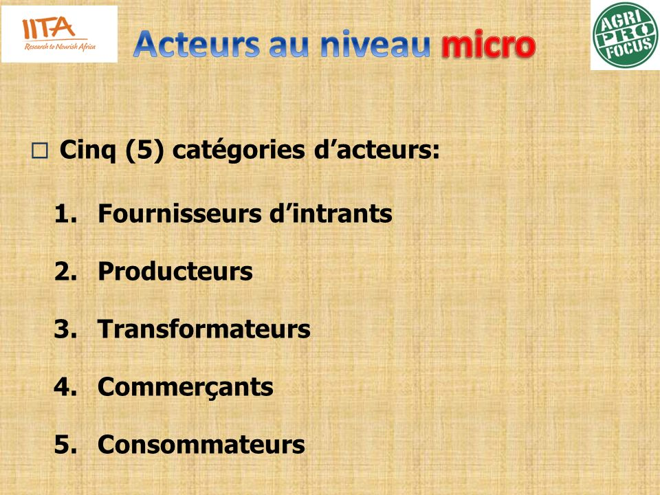 Acteurs au niveau micro