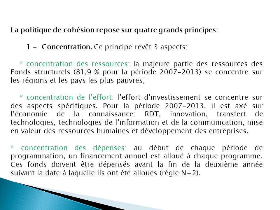 La politique de cohésion repose sur quatre grands principes: