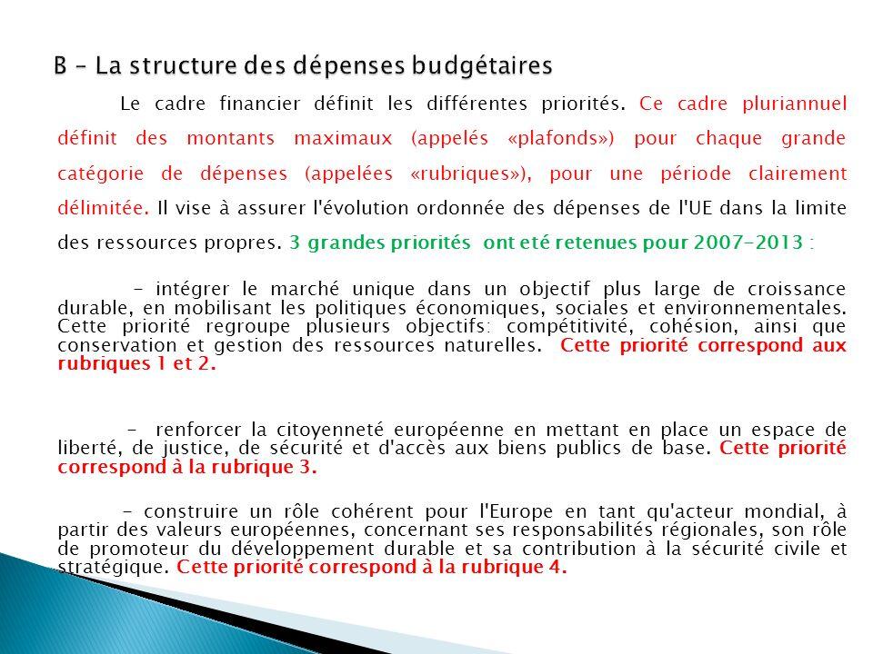 B – La structure des dépenses budgétaires