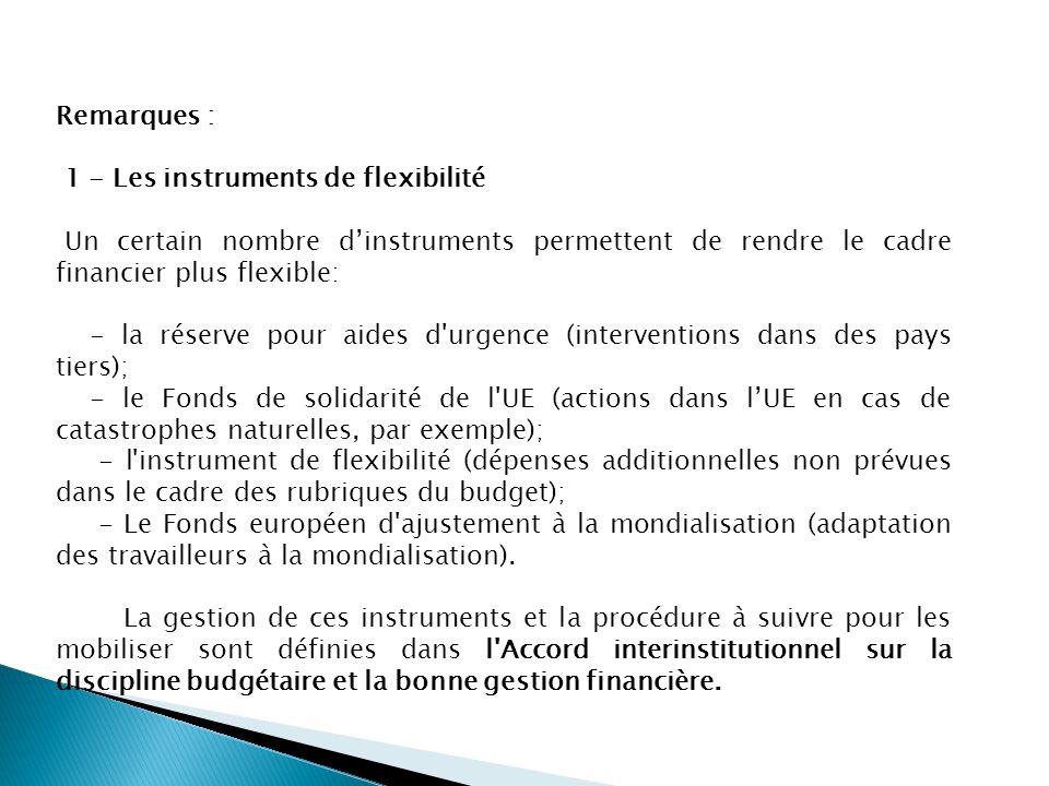 Remarques : 1 - Les instruments de flexibilité. Un certain nombre d'instruments permettent de rendre le cadre financier plus flexible: