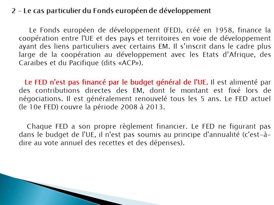 2 – Le cas particulier du Fonds européen de développement