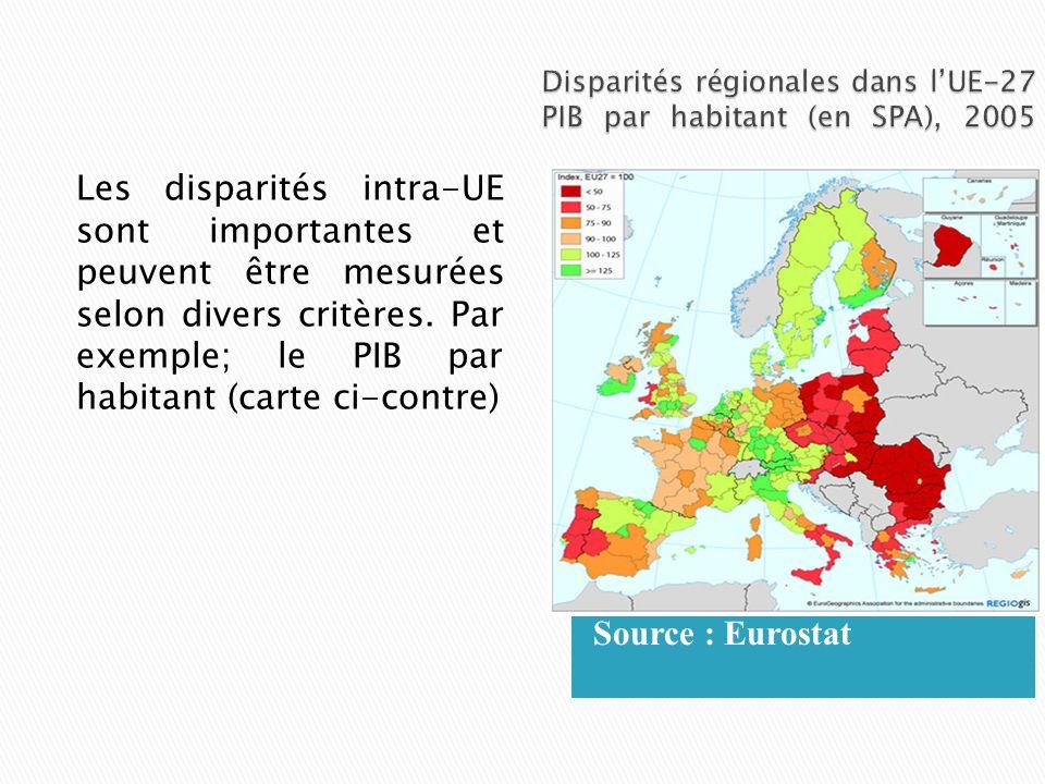 Disparités régionales dans l'UE-27 PIB par habitant (en SPA), 2005
