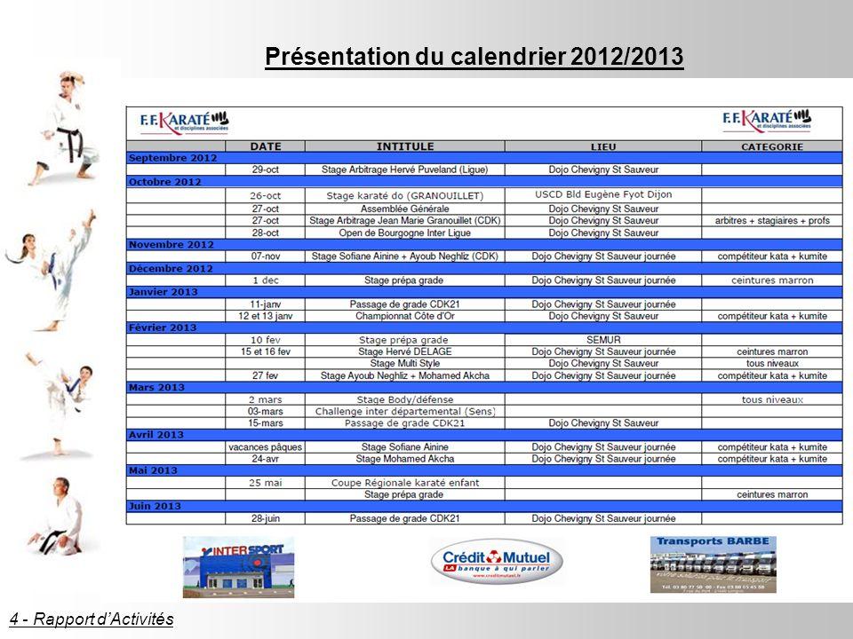 Présentation du calendrier 2012/2013