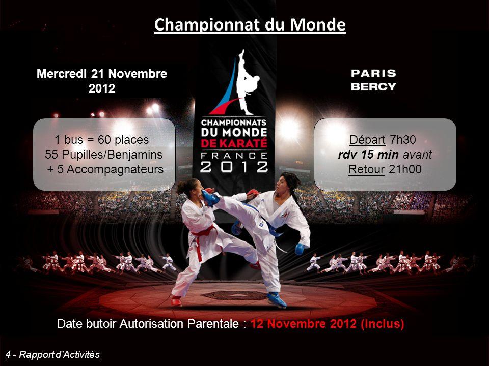 Championnat du Monde Mercredi 21 Novembre 2012 1 bus = 60 places